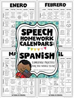Speech Homework Calendars in Spanish --... by Sarah Wu - Speech is Beautiful | Teachers Pay Teachers