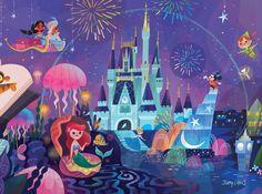 Disney World, Cinderella,  Fantasmic, Jasmin and Aladin, Ariel, Peter Pan, and Tiger