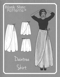 Sewing Skirts Line Drawing - Daintree Skirt by Blank Slate Patterns - Wrap Skirt Sewing Pattern - Skirt Patterns Sewing, Skirt Sewing, Drape Skirt Pattern, Pattern Sewing, Wrap Dress Patterns, Clothes Patterns, Diy Clothing, Sewing Clothes, Gypsy Clothing