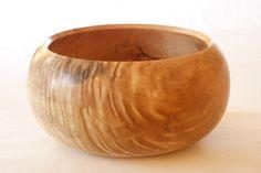 wonderfully shaped turned cherry wood bowl