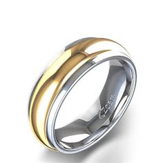 High Polished Men's Wedding Ring in 14k White and Yellow Gold