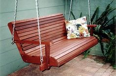 Unique Jarrah Veranda Swing with contoured seat and back for comfort. Length: to Swinging Chair, Chair Swing, Timber Outdoor Furniture, Porch Swing, Front Porch, Garden Crafts, Crafts To Do, Fun Drinks, Perth