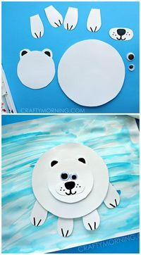 Paper Polar Bear on Ice Craft for Kids. What a fun winter art project for Preschool or Kindergarten! #winterunit #polarbearcrafts