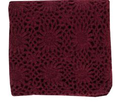 "Our rich red wine burgundy throw blanket features soft texture with vintage inspired crochet floral pattern. Perfect for a cozy nap or add a chic layer to your bedding ensemble. - 100% Acrylic - 50"" x"