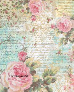 Papel Vintage, Decoupage Vintage, Vintage Diy, Vintage Ephemera, Vintage Paper, Paper Art, Paper Crafts, Music Paper, Vintage Rosen