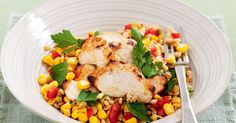 This corn and capsicum salsa makes this chicken dish a winning dinner.