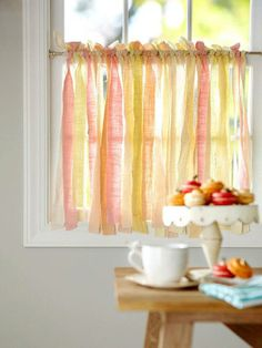 DIY Curtains Projects for Your Home Decoration - Kitchen curtain of fabric strips
