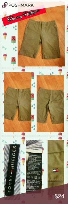 Tommy Hilfiger Shorts Bermuda shorts by Tommy Hilfiger in size 4! Too cute! Excellent condition!  See pics for details and material info....Khaki Green Tommy Hilfiger Shorts Bermudas