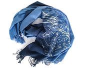 "Blue ombre Celestial scarf. ""Milky Way Galaxy"" pashmina. Cobalt & cornflower blue scarf. Galaxy design, ice blue print."