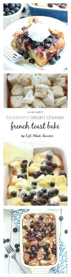 Overnight Blueberry Cream Cheese French Toast Bake - Super easy & delicious baked French Toast bursting with blueberries,cream cheese, brown sugar streusel and the BEST blueberry sauce. Make it the night before and pop it in the oven in the morning. Perfect for Mother's Day or any special breakfast, brunch or even dinner. Oven Baked French Toast, Cream Cheese French Toast, French Toast Recipes, Cream Cheese Breakfast, French Toast Bake, French Bread French Toast, Best French Toast, Mother's Day Breakfast, Night Before Breakfast