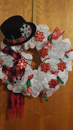 This item is unavailable Diy Christmas Tags, Christmas Mesh Wreaths, Dollar Store Christmas, Indoor Christmas Decorations, Christmas Snowman, Christmas Crafts, Snowman Wreath, Snowman Hat, Winter Wreaths