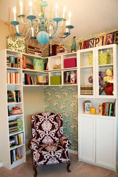 Lovely reading nook...I wish! Our home won't be big enough for a space like this but maybe if I could find a crappy old chair to reupholster I could create a space