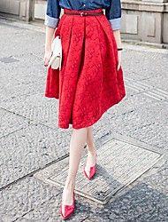 Women's Stylish Vintage Print Midi Skirt