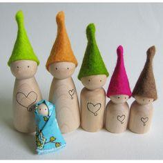 Waldorf toy  Tiny wood waldorf elf by FeeVertelaine on Etsy