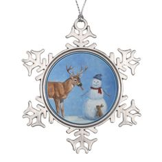 Deer & Snowman Christmas Ornament. Artwork created from an original oil painting by wildlife artist Crista S. Forest.