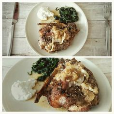 lunch#roasted#blade shoulder#bone#pork#spinach#herbal tatar sauce with white greek yoghurt#home made with pride ;-)