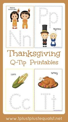 Thanksgiving Q-Tip Printables ~ great for fine motor skill practice for preschoolers and toddlers. Focus on beginning sounds, letter ID with a fun Thanksgiving theme.