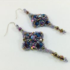 Vitrail Blue Crystal and Seed Beaded Earrings/Blue Iridescent Faceted Crystals/ Seed Bead Earrings/ Boho Chic