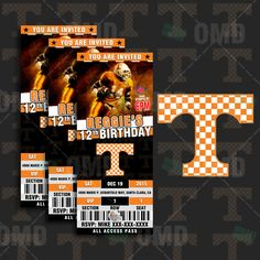 "2.5x6"" Tennessee Volunteers Sports Party Invitation, Sports Tickets Invites, UT Football Birthday Theme Party Template by sportsinvites on Etsy"