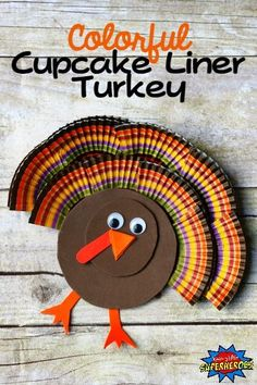 Turn cupcake liners into a turkey feathers and create a Colorful Cupcake Liner Turkey Craft for Kids. This easy craft will make a fun and festive decoration