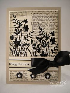 I love this with background of an old dictionary page and the black stamped foliage. This is from a blog by Stampin' Up demonstrator, Nancy Riley, of favorite artists works. Tiri (?) Nathan's signature is on the pic of the card.
