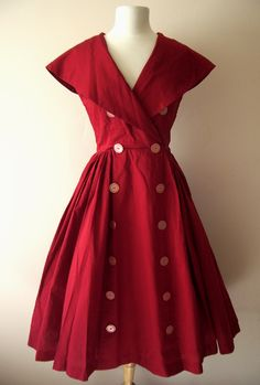 Vintage Red 1950's Dress - Vintage Dresses :  1950s dress 1950 nautical full skirt