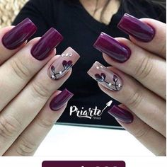 Amazing wine red nail polish spring nails 17 Amazing Nail Polish Hacks That You'll Love Glitter Manicure, Manicure E Pedicure, Fall Manicure, Fall Nail Designs, Acrylic Nail Designs, Pedicure Designs, Purple Nails, Red Nails, Matte Nails