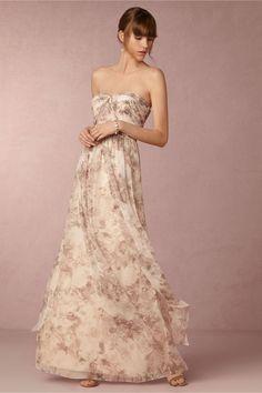 Nyla Dress in Bridesmaids Bridesmaid Dresses Convertible at BHLDN Printed Bridesmaid Dresses, Bridesmaid Gowns, Wedding Bridesmaids, Strapless Dress Formal, Formal Dresses, Formal Wear, Party Dresses, Reception Dresses, Chiffon Dresses