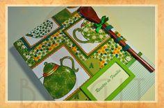 """Hand bound book - Bookbinding - Encadernação artesanal -Estúdio Brigit: Livro de Receitas """"Chá Verde com Bolinhas"""" (Cookbo..."""