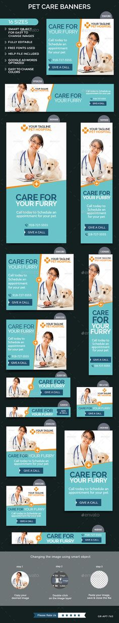 Pet Care Banners Template #design Download: http://graphicriver.net/item/pet-care-banners/12144605?ref=ksioks