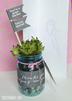 Make a Succulent Mason Jar Teacher Gift (With Free Printables!)