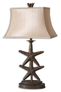 27 tall table lamp with Lifelike Starfish Finished In An Antiqued Gold With A Dark Gray Wash.