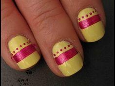 Simple Spring Stripe - Free Hand Nail Art Tutorial