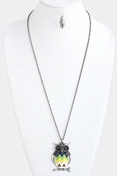 "Silver Acrylic Owl Pendant Chain Link Necklace - Acrylic Owl Pendant With Gold Accented Chain Link Necklace StarShine Jewelry. $13.05. Chain length 28"". Pendant 1.5"" x 2.2"". Lead and nickel compliant. owl pendant necklace. Lobster claw clasp with 3"" extender"