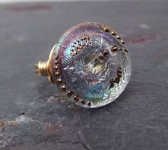 Glass Button Ring  Gold Wire Wrapped Floral by SherryKayDesigns, $18.00