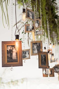 Hanging gold frames for a chic outdoor photo display #gardenparty #gardenpartywedding #weddingdecor #weddingideas #diywedding
