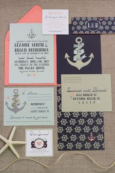 For the lighthearted couple, partner your nautical theme with retro details for a fun decor scheme. This invitation suite incorporated tattoo-inspired fonts and sherbet hues to set a playful mood.