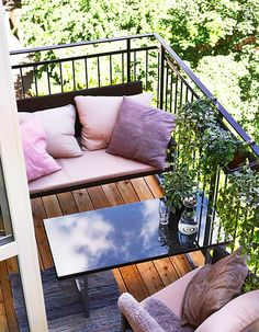 Perfectly Petite Patios, Balconies & Porches: The Most Inspiring Seriously Small Outdoor Spaces Compact furniture means that this small balcony from Marie Claire Maison still has plenty of seating.