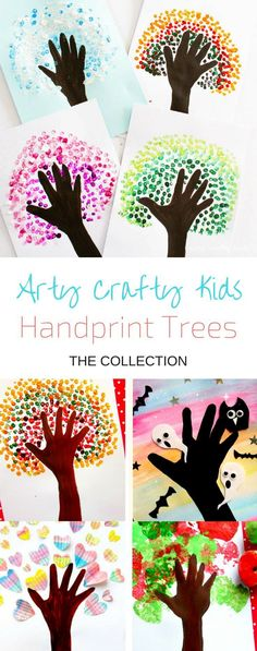 Four Season Handprint Tree Arty Crafty Kids & Art & Four Season Handprint Tree & We have a handprint tree for every season and occassion! A fabulous art project for preschoolers. The post Four Season Handprint Tree appeared first on Jennifer Odom. Cool Art Projects, Class Art Projects, Art Project For Kids, Arts And Crafts For Kids Toddlers, Painting Crafts For Kids, Painting With Kids Ideas, Artwork For Kids, School Projects, Arts And Crafts For Kids For Summer