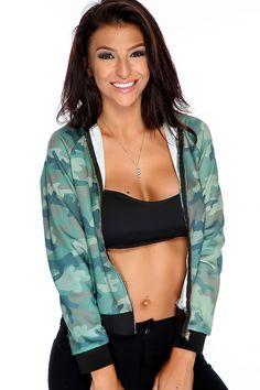 Image of Green Camo Print Long Sleeves Casual Jacket