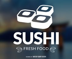 Sushi place logo that features illustrated suchi pieces and says sushi fresh food with some leaves as details. Design comes in white over a blurred