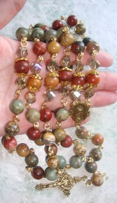 HEIRLOOM QLTY CATHOLIC ROSARY BEADS JASPER AND SWAROVSKI | JMBJEWELS - Jewelry on ArtFire