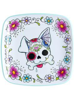 """Sugar Skull Dog"" Platter (White) #InkedShop #skull #dog #Plate #homegoods"
