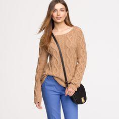Italian camel cable sweater : crewnecks | J.Crew