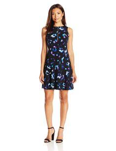 Ellen Tracy Women's Petite Front Zip Knit Dress