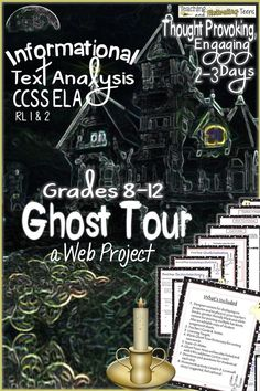 Not just for Halloween - give your students an exciting two-three days on this ghost tour and even your reluctant readers will enjoy reading! Online informational reading that really hooks your students; teens find this topic thought-provoking and meaningful. There is a variety of reading material provided, at various Lexile levels and lengths. They will need to be online to work through this ghost tour and be sure to print the pages beforehand.