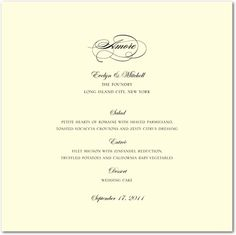 Thermography Menu Cards Sentimental Script - Front : Black