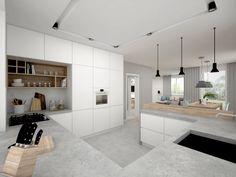 Řešení vysokého rohu v kuchyni - jedna z možností Kitchen Dinning Room, Kitchen Room Design, Kitchen Cabinet Design, Apartment Kitchen, Modern Kitchen Design, Kitchen Living, Interior Design Kitchen, New Kitchen, White Wood Kitchens