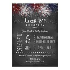 Chalkboard Fireworks Labor Day Party Invitation