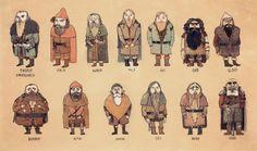 The dwarves from Tolkein's Hobbit (artist unknown).